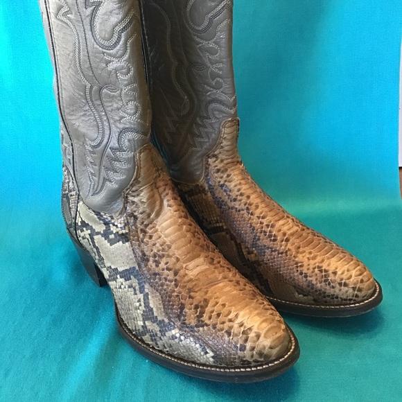 2335a670682 Double H Python Snake Skin Cowboy Boots